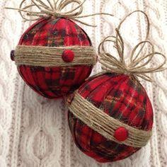Christmas Ornaments / Xmas Plaid Fabric Ornaments / Flannel