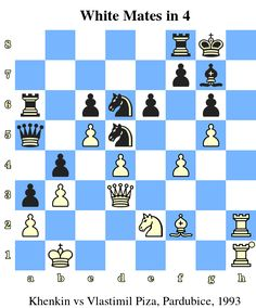White Mates in 4. Khenkin vs Vlastimil Piza, Pardubice, 1993 www.chess-and-strategy.com #echecs #chess #jeu #strategie