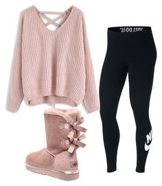 """Cute-Winter"" by doscelyn-javis ❤ liked on Polyvore featuring UGG, Chicwish and NIKE"