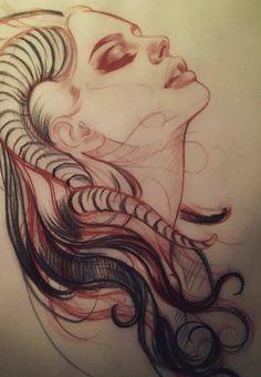 Sketch for tomorrow. Tattoo Sketches, Tattoo Drawings, Drawing Sketches, Tatoo Art, Body Art Tattoos, Widder Tattoos, Demon Tattoo, Satanic Art, Geniale Tattoos