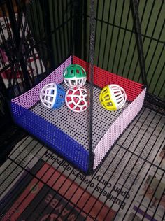 Sugar glider ball pit. Plastic canvas and cat toys