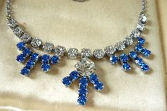 STUNNING VINTAGE JEWELLERY 50'S SAPPHIRE BLUE CLEAR RHINESTONE NECKLACE