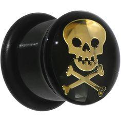 """5/8"""" Black Acrylic Single Flare Skull Crossbones Plug"""