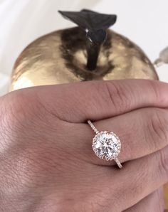Brilliant Engagement Ring Rose Gold Ring in 14k Rose Gold with Diamond or Cubic Zirconia Halo by barzahav on Etsy https://www.etsy.com/listing/252386212/brilliant-engagement-ring-rose-gold-ring
