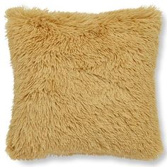 Catherine Lansfield Cuddly Deep Pile Shaggy Faux Fur Fleece Cushion Cover, Ochre, 45 x 45 Cm