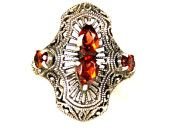 Vintage Ornate Sterling Silver Garnet Ring 6