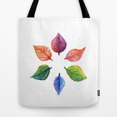 Leaves Tote Bag by paolavazquez Watercolor Print, Watercolor Paintings, Autumn, Fall, Collage Art, Aqua, Reusable Tote Bags, Leaves, Colorful