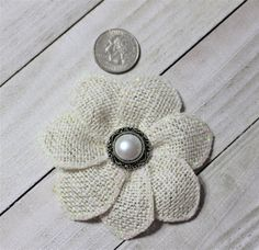 Ivory Sparkle Burlap Fabric Flower Embellishment Supplies
