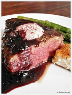 Filet Mignon with Red Wine Boysenberry Reduction and Fried Goat Cheese Rounds at www.JamHands.net