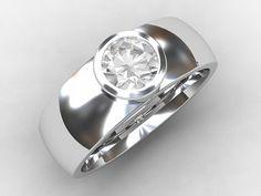 Men's modern wedding band with 0.50ct Diamond in stunning bezel setting by TorkkeliJewellery, $5790.00