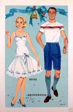 The Heavenly Blue Wedding Vintage Paper Dolls