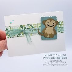 Animal Punch Art monkey using Penguin Builder Punch card from Dawn Olchefske #dostamping #HowdSheDOthat #stampinup #punchart P Punch Art, Penguins, Monkey, Stampin Up, Cute Animals, Card Making, Xmas, Dawn, Paper Crafts