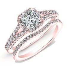 Amazon.com: 1.50 carat Princess & Round Brilliant Cut Diamond Halo Anniversary Engagement Bridal Set in 14k Rose Gold: Jewelry