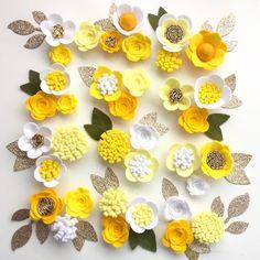Hand made white/lemon felt 3d flowers/roses & glitter leaves. Felt flower crown, flower headband, flower garland, baby headband, felt posies by cutzbothways on Etsy