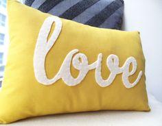 Yellow Love PIllow. $39.00, via Etsy.