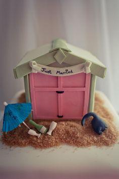 Cute Brighton and Hove Beach Hut Wedding Cake! Photo by Photomadly. Beach Themed Cakes, Themed Wedding Cakes, Wedding Cake Decorations, Tipi Wedding, Seaside Wedding, Our Wedding, Wedding Things, Destination Wedding, Wedding Ideas