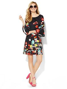 Shop Bell-Sleeve Dress - Floral. Find your perfect size online at the best price at New York & Company.