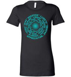 ABC through Z FEEL GOOD VORTEX * Abraham-Hicks Inspired T-Shirt – Robin Egg Blue Print