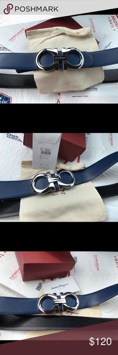 Authentic Navyblue/black reversible Ferragamo belt Navy blue/black reversible Ferragamo belt with big XL silver buckle. Please visit our site to purchase (link in bio). Choose from sizes 90cm-115cm. Comes with original box, dust bag and tags. Shop with confidence. 100% Satisfaction guaranteed. Accessories Belts