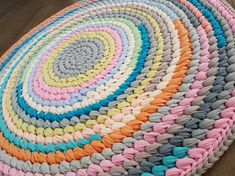 Check out this item in my Etsy shop https://www.etsy.com/il-en/listing/241969628/sale-crochet-round-rug-t-shirt-yarn-rug