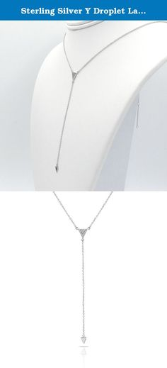 "Sterling Silver Y Droplet Lariat Long Chain Necklace with CZ Crystal Pave Triagle and Arrow Charm, Rhodium Plated 925 Silver, Adjustable Chain Length 16"" - 18"", with Jewelry Box. What is 925 Sterling Silver? To make silver durable enough for use in jewelry, pure silver, which has a .999 fineness (99.9%), is often alloyed with small quantities of copper (7.5%). The copper is added to strengthen the silver and the resulting product is 925 sterling silver (92.5%). What is Rhodium Plating?..."