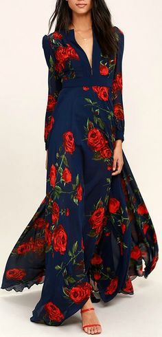 Blossom Navy Blue and Russian Red floral print maxi dress, masterfully tailored, flowing, elegant dress. $136, a wardrobe builder. We love it. Follow RUSHWORLD! We're on the hunt for everything you'll love!