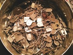 major flea market score !! old swimming pool locker basket pins ~ from Ligonier Beach !!  150+ pins plus many stamped metal tags !!! $60 .. pretty good #fleamarkethaul !!