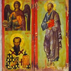 Diptych with Gabriel, Basil, and Paul · The Sinai Icon Collection Byzantine Icons, Byzantine Art, Medieval Art, Renaissance Art, Saint Catherine's Monastery, Saint Gabriel, Archangel Gabriel, Principles Of Art, Icon Collection