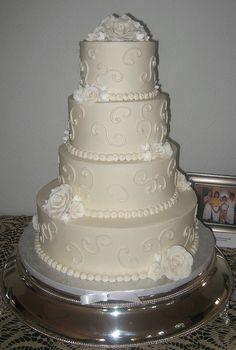 White Roses Wedding Cake   Flickr - Photo Sharing!