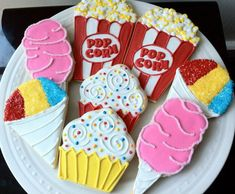 Circus Party Themed Decorated Sugar Cookies- popcorn, cotton candy, sno cone, and cupcakes via Etsy