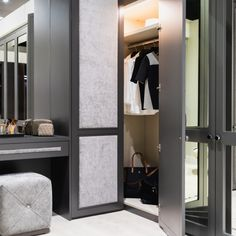 Make the most of every inch of space in your bedroom, dressing room or walk in wardrobe with a corner design. Perfectly fitted, this design helps maximise space and is a great storage solution. This design with a fabric Castille wardrobe doors and external mirrors is a great choice for any home or bedroom decor design. #bedroomdecor #bedroomstoage #storagesolution #cornerwardrobe #wardrobe #London #Neatsmith Entryway, Furniture, Home Decor, Entrance, Main Door, Interior Design, Entrance Hall, Home Interior Design, Doorway
