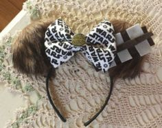 Starwars Chewbacca Inspired Fur ears with starwars bow and pin