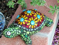 mosaic and stained glass art Garden turtle
