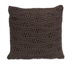 erica espresso brown crochet sweater pillow