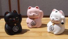 Lucky Cat Kitten kids X 3 black pink and white - Maneki Neko ...