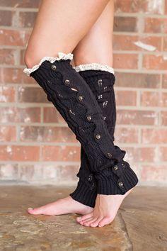 Fall Fashion, Leg Warmers, Button Leg Warmers, Lace-Trimmed Leg Warmers- Buttons