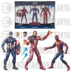 Amazon.com: Marvel Legends 3-Pack Captain America Civil War Spider-Man, Captain America, and Iron Man: Toys & Games