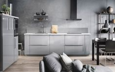 Grey kitchen design with grey walls, grey doors and grey accessories