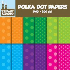 Clip Art: Polka Dot Backgrounds - 12 Digital Paper Patterns (FREE)