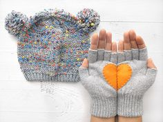 CHRISTMAS Gift, SPECIAL PRICE, Hat Gloves Sets, Heart Gloves, Pom Pom, Grey Hat, Grey Gloves, Orange, Xmas Gift, Gifts For Her, Women Gift by talkingloves on Etsy https://www.etsy.com/listing/212936063/christmas-gift-special-price-hat-gloves