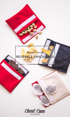 Easy Tutorial: Make Your Own Reusable Snack Bags Reusable Snack Bag DIY // Closet Case Patterns An easy tutorial to make no-plastic zero-waste snack bags! The post Easy Tutorial: Make Your Own Reusable Snack Bags appeared first on Bag Diy. Beginner Sewing Projects, Sewing For Beginners, Sewing Hacks, Sewing Tutorials, Sewing Tips, Bags Sewing, Sew Bags, Bag Tutorials, Sewing Patterns Free