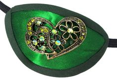 Eye Patch Emerald Love Jeweled Green Victorian Steampunk Pirate Fantasy Fashion