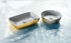 24 K&B Products Look to the Future   Elite basins in ceramic in gold and platinum by Hastings Tile & Bath. #design #interiordesign #interiordesignmagazine #products