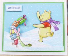 Disney Christmas Cards, Disney Cards, Xmas Cards, Christmas Crafts, Winnie The Pooh Christmas, Disney Winnie The Pooh, Pooh Bear, Handmade Cards, Card Ideas