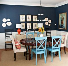 chair envy - i love the painted crossback + upholstered combo