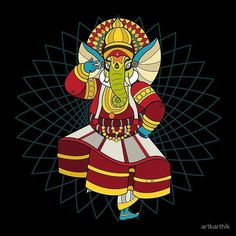 Ganesha dances the traditional indian dance form of Kathakali Shri Ganesh, Ganesha Art, Lord Ganesha, Krishna, Indian Illustration, Illustration Story, Framed Prints, Canvas Prints, Art Prints