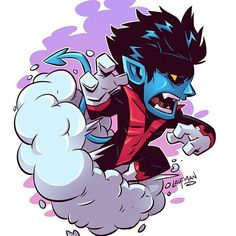 Chibi Nightcrawler by Derek Loufman Chibi Marvel, Marvel Art, Marvel Dc Comics, Marvel Heroes, Marvel Drawings, Cartoon Drawings, Cartoon Art, Chibi Characters, Marvel Characters