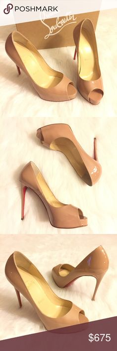 Christian Louboutin New Very Prive Heels Nude 37.5 100% authentic Christian Louboutin New Very Prive 120 peep toe pumps. Size 37.5. Most CL fans say this equates best to a US 7 or 7.5. Nude patent leather. Excellent preowned condition. Uppers are PERFECT. Bottoms show some wear (worn once for 3 hours at an indoor event.) A cobbler can re-do the bottoms w/ red vibram soles if you desire (google it!) but a red sharpie works, too! 120mm stiletto heel. 20mm front platform (easy to walk in!)…