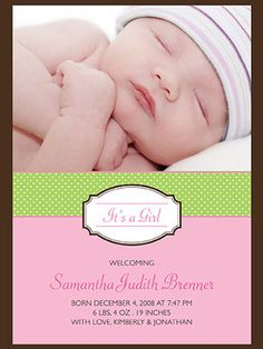 The SBC birth announcement.  May have to go with this an put her graduating class on it.