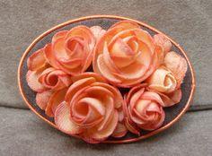 Vintage Brooch Coral Peach Fabric Roses by wemixandmatchvintage, $5.00